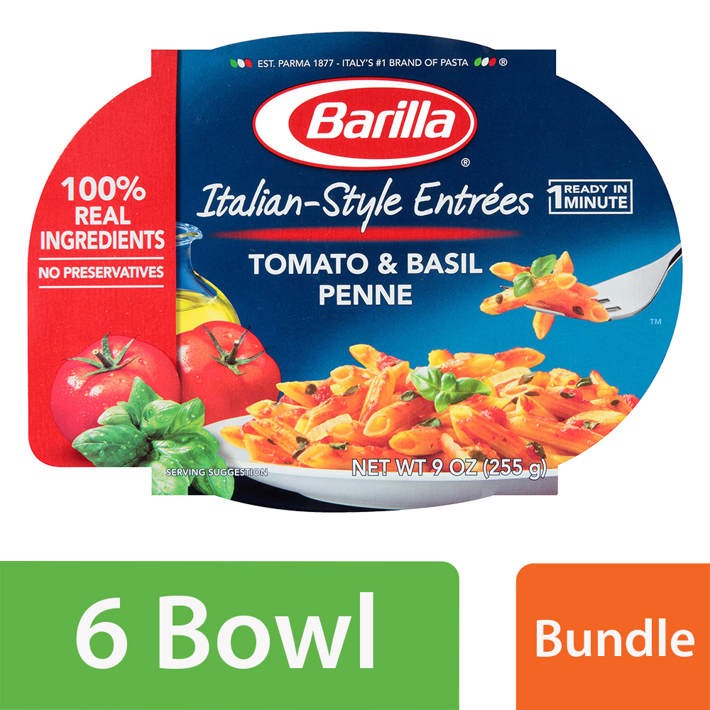 (6 Pack) Barilla Pasta Italian-Style Entrees Tomato & Basil Penne 9 oz Package