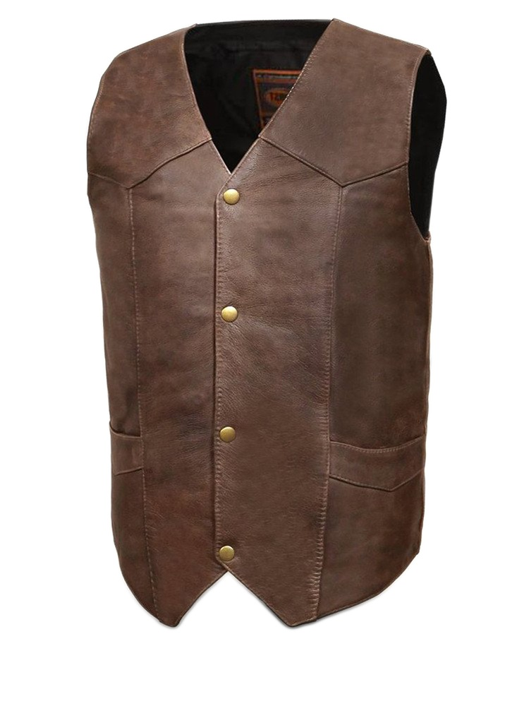Brown, 4X-Large - Texan First MFG Co Mens Motorcycle Leather Vest