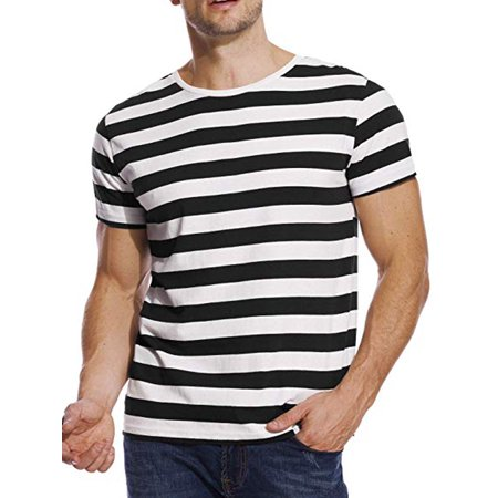 LELINTA Men's Short-Sleeve Crewneck Cotton T-Shirt Black and White (Comme Des Garcons Play Stripe Cotton Tee)