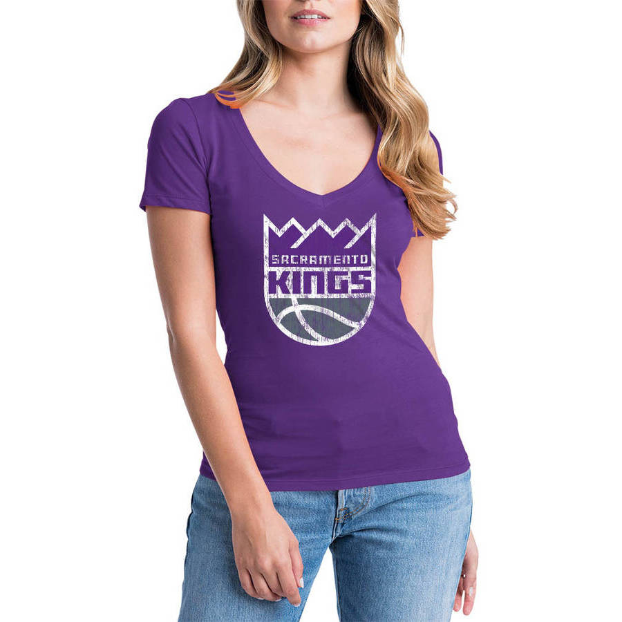 NBA Sacramento Kings Women's Short Sleeve V Neck Graphic Tee