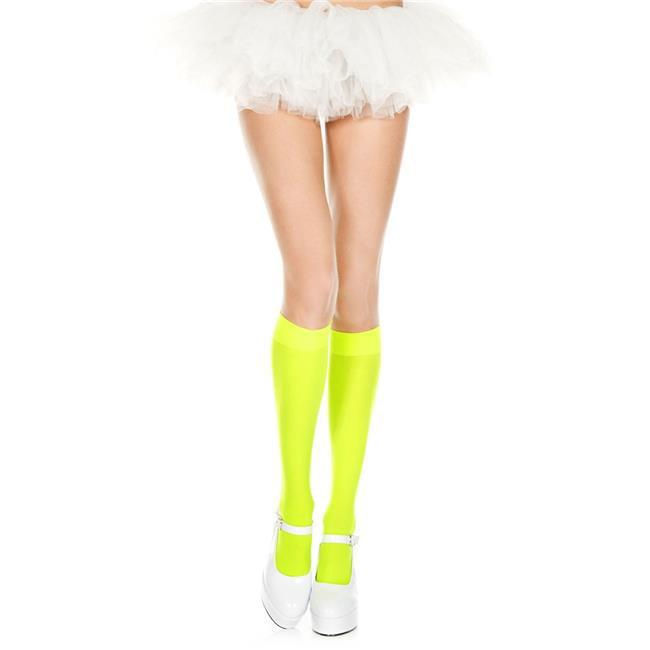 8dbf2ac5a49 Music Legs 5747-NGREEN Opaque Knee High Socks - Neon Green