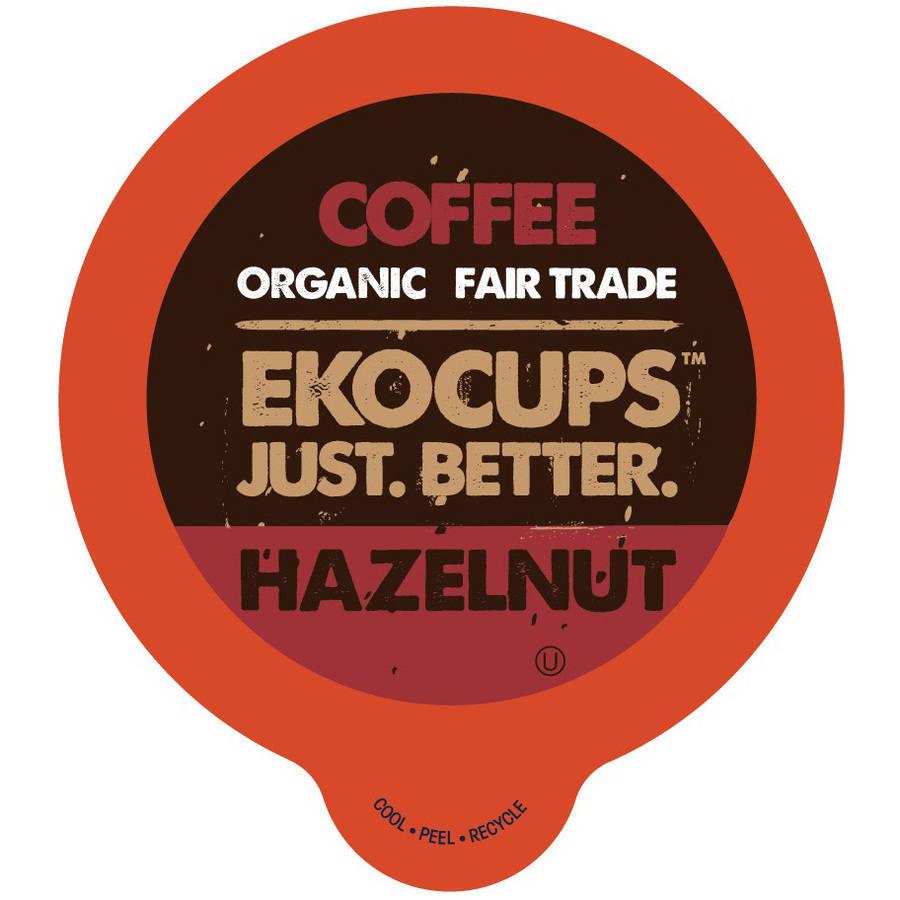EkoCups, Artisan Organic Hazelnut Flavored Coffee Single Serve Cups, 40 Ct