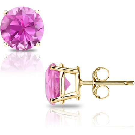 14K Gold 2.0Cttw Round Genuine Pink Sapphire Gemstone Stud Earrings ()