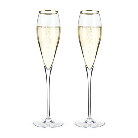 Elegant Crystal Glass - Champagne Flute, Gold Rimmed Crystal Riedel Vintage Elegant Champagne Flutes (Sold by Case, Pack of 4)