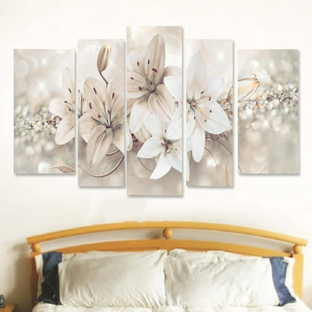 Moaere 5Pcs Modern Abstract Flower Canvas Painting Print Picture Wall Art Decor Living Room Bedroom Home (Flower Printing)
