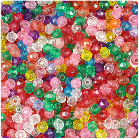 BeadTin Transparent Multi 4mm Faceted Round Craft Beads