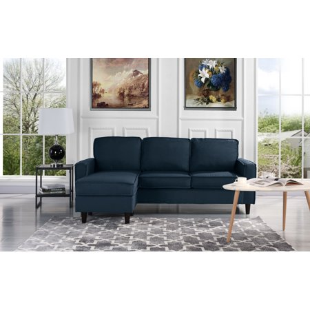 Surprising Modern Linen Fabric Sectional Sofa Small Space Configurable Couch Polo Blue Ncnpc Chair Design For Home Ncnpcorg