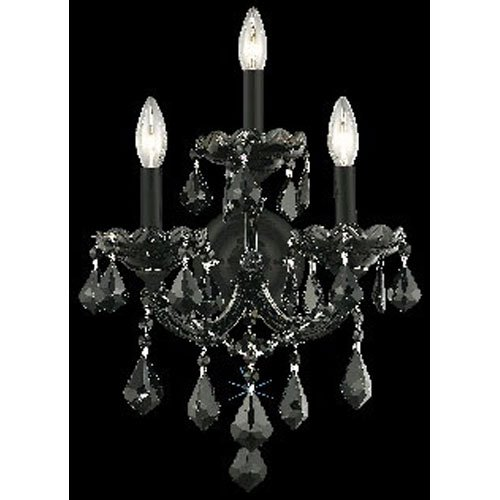 2800 Maria Theresa Collection Wall Sconce W12in H16in E8.5in Lt:3 Black Finish (Royal Cut Jet Black Crystal)