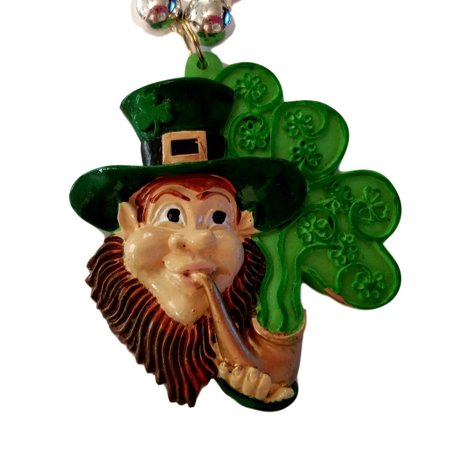 Diy Mardi Gras Beads (Leprechaun with Pipe Shamrock St Patrick's Day Mardi Gras Bead)