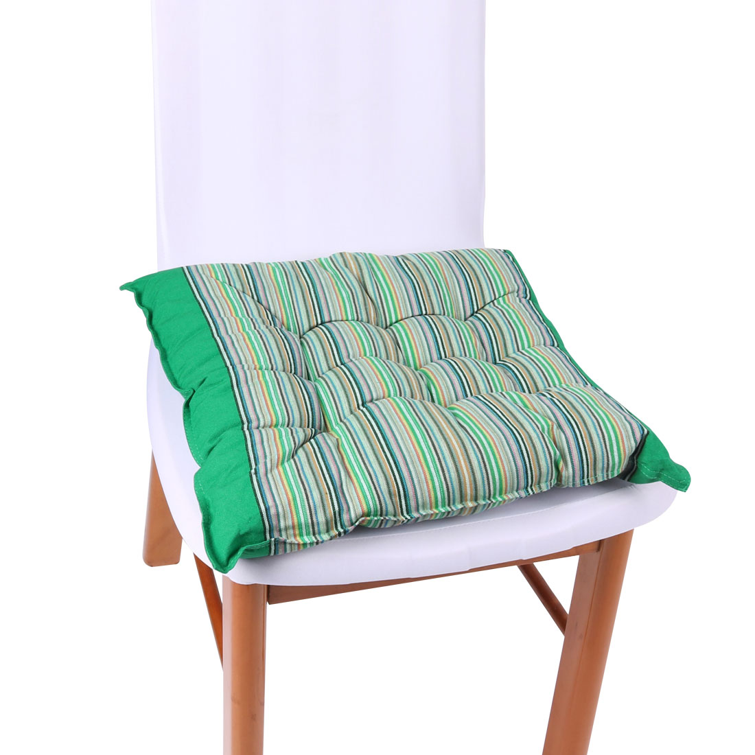 Unique Bargains Home Office Striped Pattern Back Support Chair Seat Cushion Green 40cm x 40cm