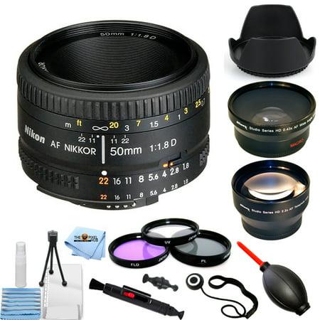 Nikon AF NIKKOR 50mm f/1.8D Lens - Pro Bundle with Telephoto and Wide Angle Lenses, Filter Kit, Tulip Hood Lens, Cap Keeper and More