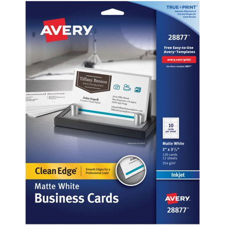 Avery Clean Edge True Print Matte Business Cards for Inkjet Printers, Two-Side Printable, 28877, Pack of (Matte Clear Business Card)