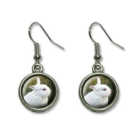 Bunny Rabbit White - Easter Dangling Drop Earrings Easter Bunny Rabbit Earrings