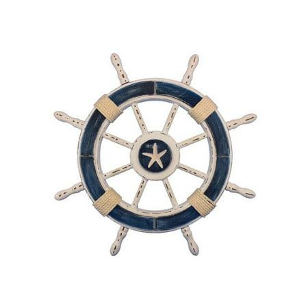 Rustic Dark Blue and White Decorative Ship Wheel With Starfish 24