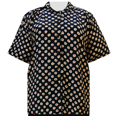 A Personal Touch Women's Plus Size Short Sleeve Button-Up Print Blouse with Pleats - Black Charming - (Once Upon A Time Snow And Charming)