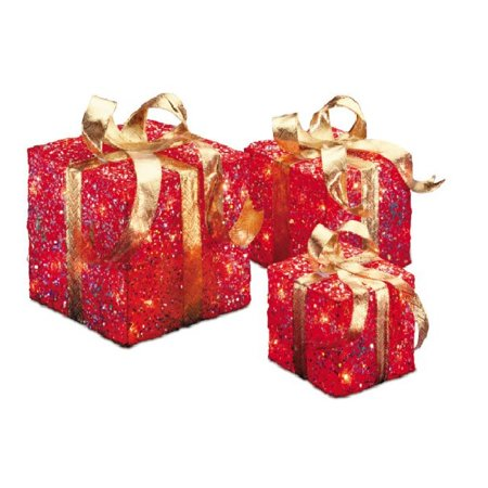 Set Of 3 Red And Gold Colored Christmas Decorative Gift Boxes Table Toppers Clear Lights 10