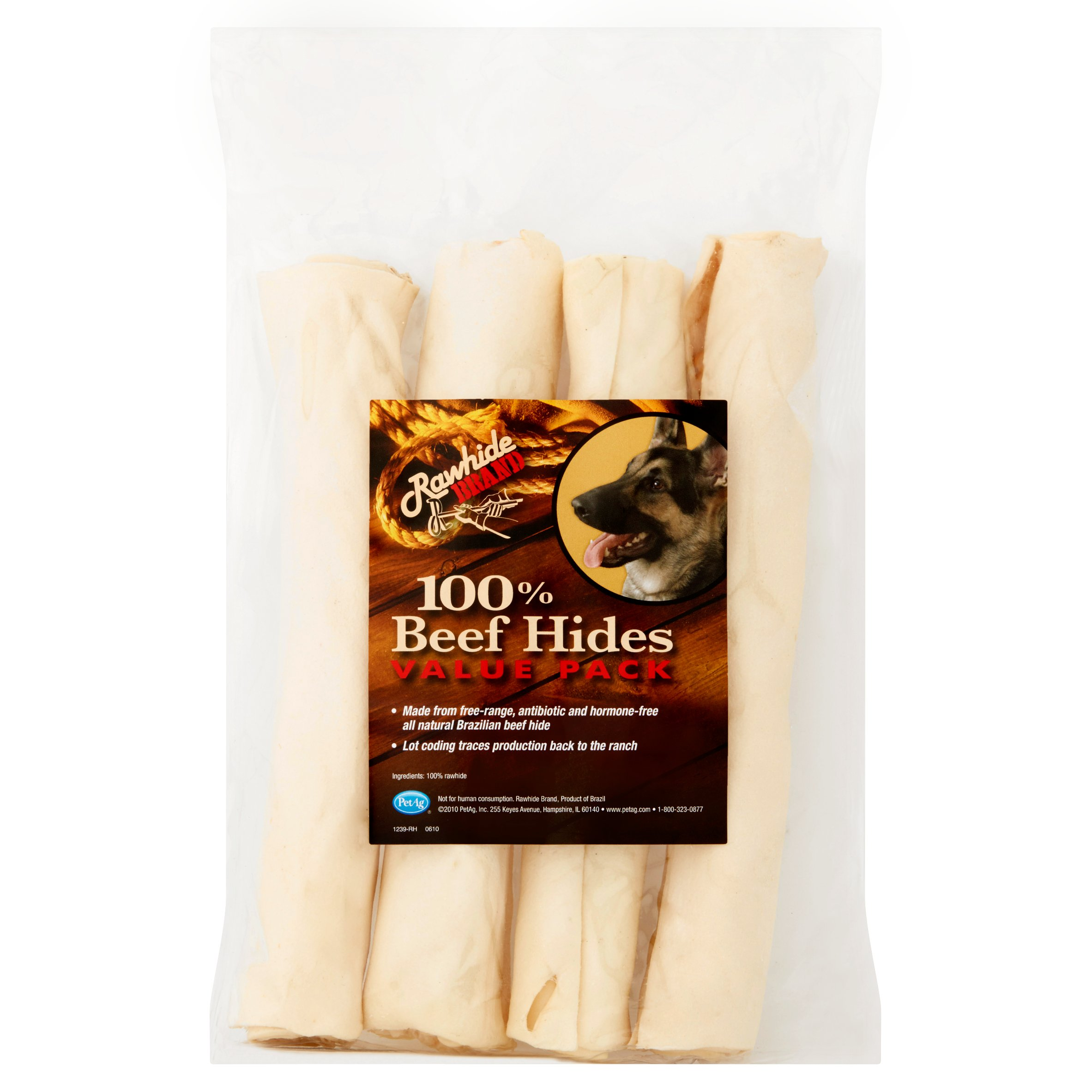 "PetAg Rawhide 100% Beef Hides Dog Treats, 9"", 4-ct."