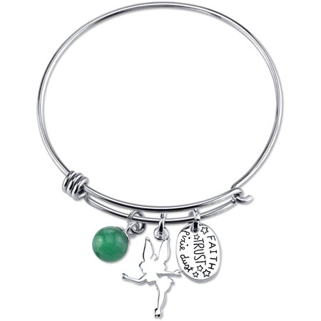 Disney Tinkerbell Women's Stainless Steel Faith Trust Pixie Dust with 8mm Green Aventurine Bead Catch Bangle