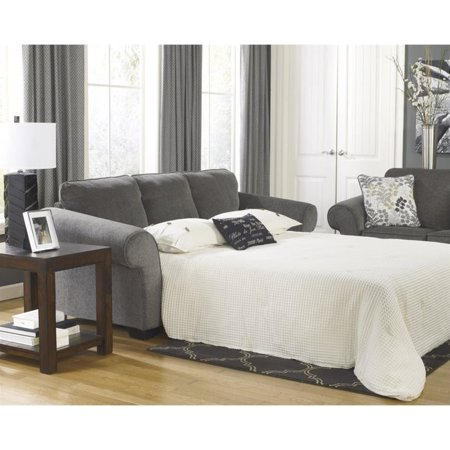 Ashley Makonnen Chenille Queen Size Sleeper Sofa in Charcoal