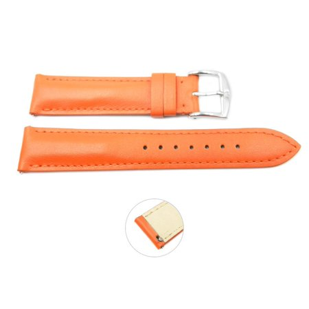 Quick Release 20mm Orange Leather Smooth Watch Band - Interchangeable Womens Watch Straps ()