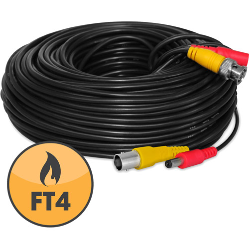 DEFENDER FT4/UL Certified Camera Extension Wire, 130', Black
