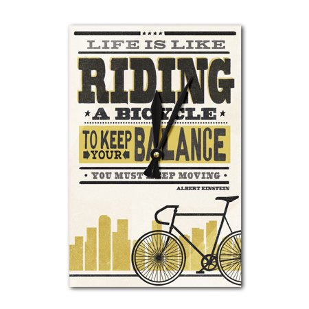 Life is Like Riding a Bicycle - Screenprint Style - Albert Einstein (High) - Lantern Press Artwork (Acrylic Wall Clock)