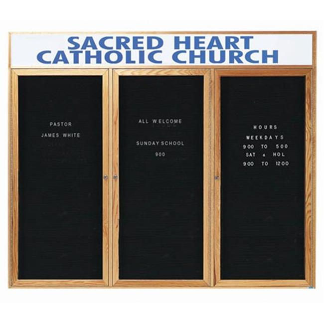 Aarco Products ODC4872-3H 3-Door Enclosed Changeable Letter Board with Header - Oak