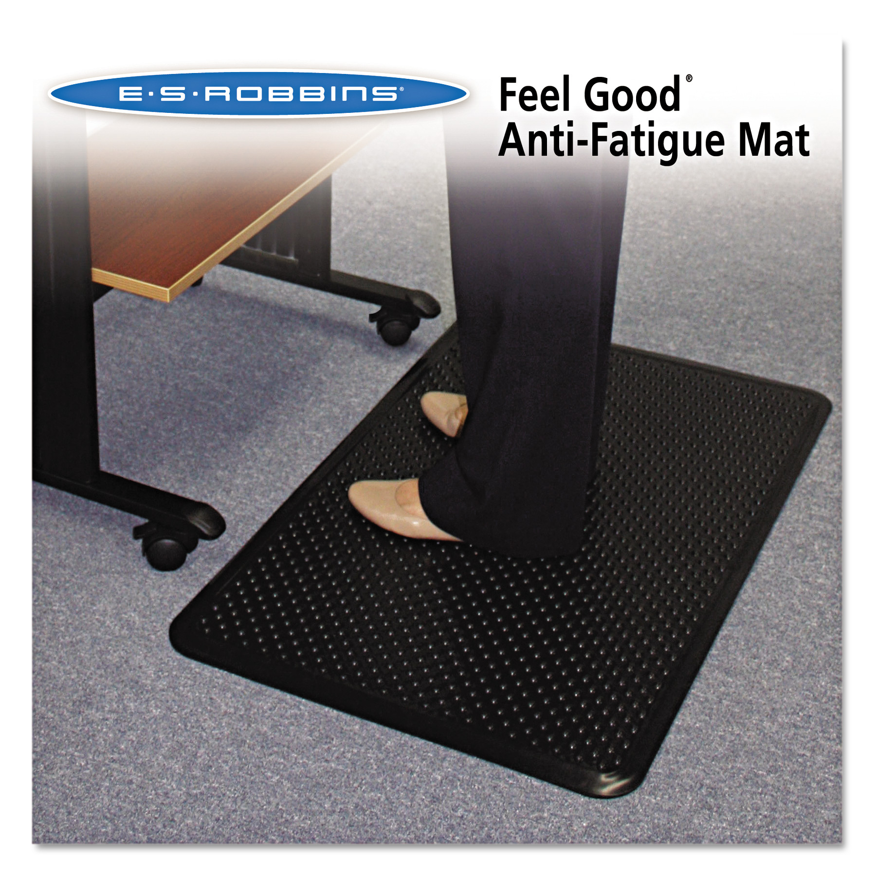 ES Robbins Feel Good Anti-Fatigue Mat, 24 x 36, Black