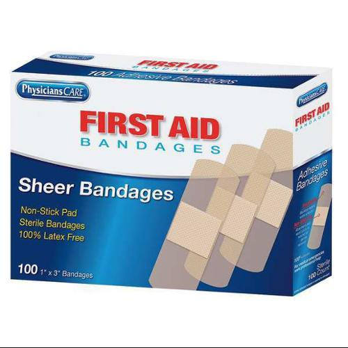 PHYSICIANSCARE 90331G Adhesive Bandage,Sheer,Plastic,1 In.