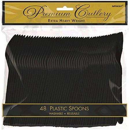 Premium Plastic Tableware (Reusable Party Spoons Premium Heavy Weight Tableware, Jet Black, Plastic, Full Size, Pack of)