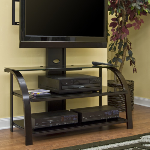 Sauder TV Stand With Panel Mount, Black And Dark Espresso With Black Glass  For TVs