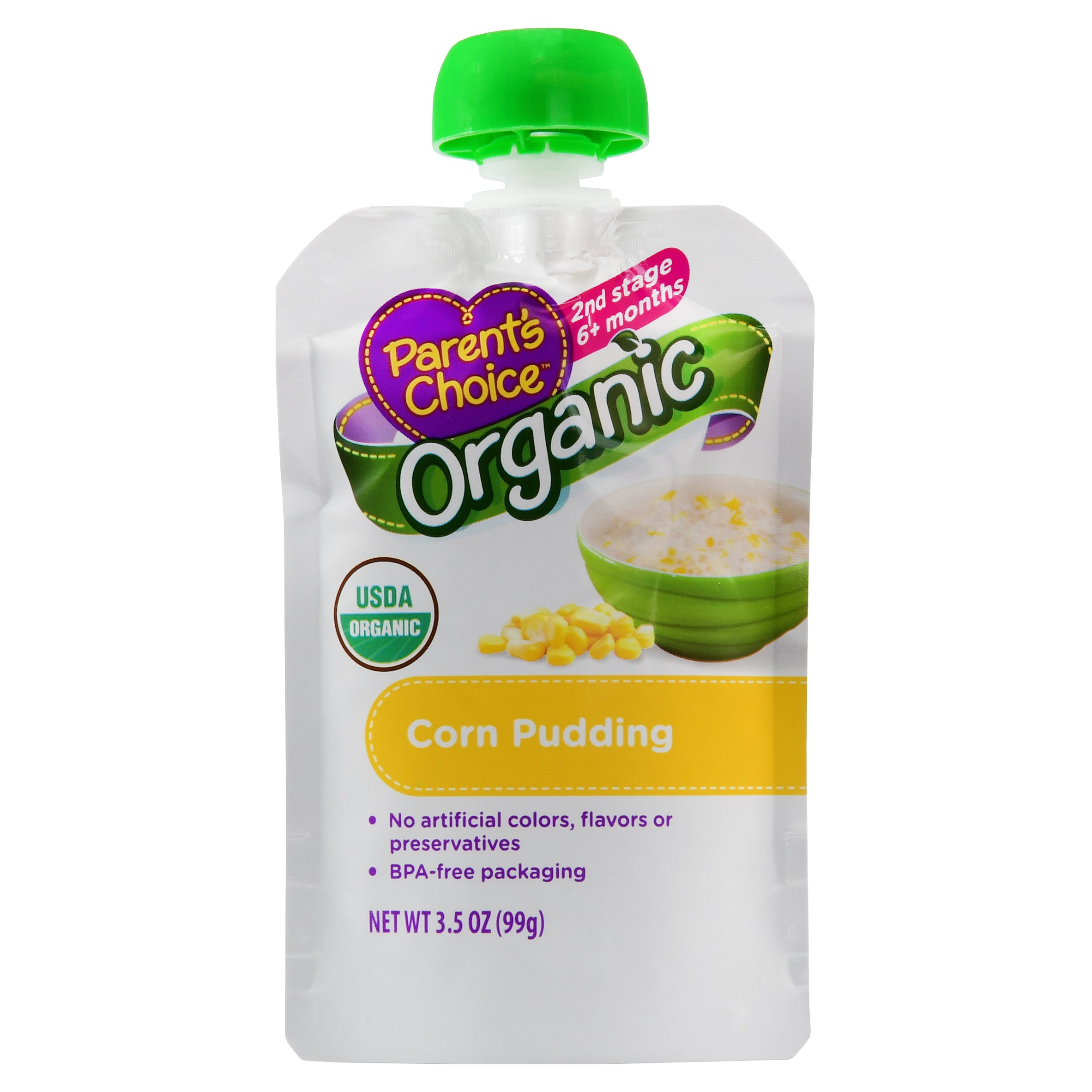 Parent's Choice Baby Food, Stage 2, Organic, Corn Pudding, 3.5oz Pouch