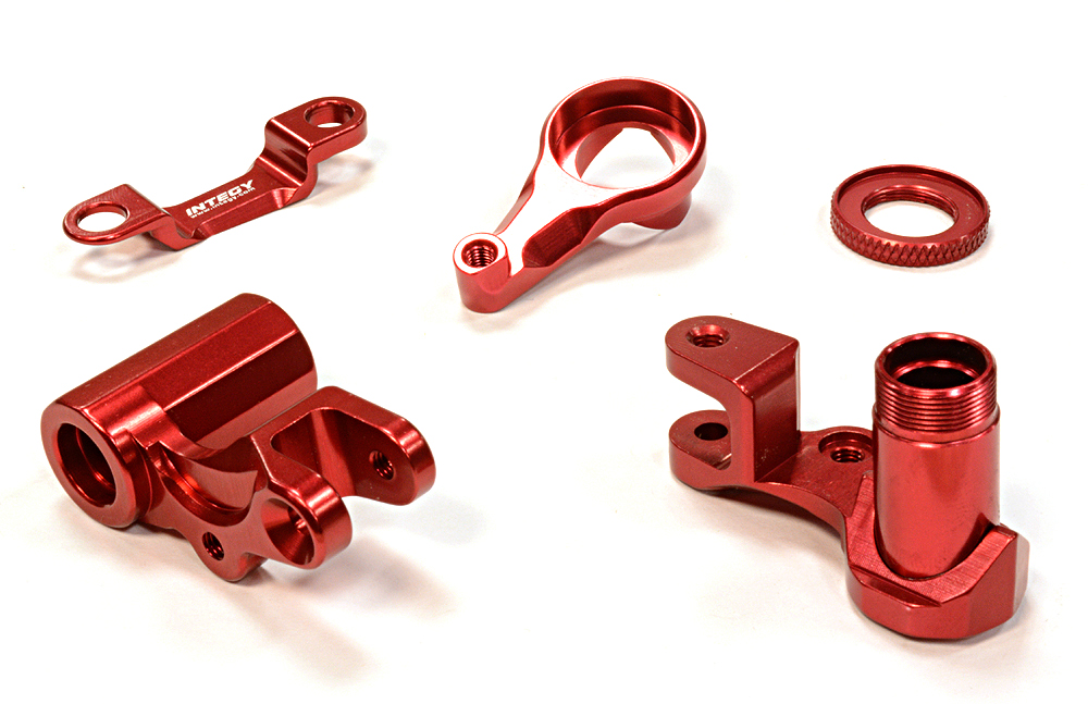 Integy RC Toy Model Hop-ups C25811RED Billet Machined Steering Bell Crank for Traxxas 1 10... by Integy