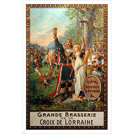Vintage Beer Advertising Poster French Grande Brasserie Celebration 24X36