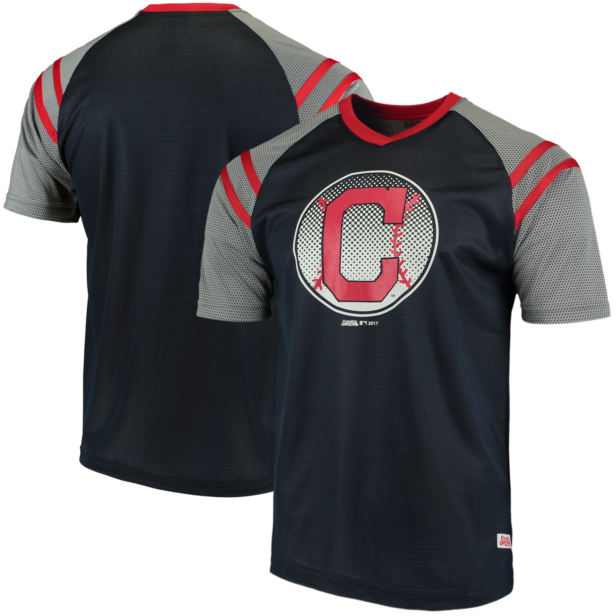 Cleveland Indians Stitches V-Neck Mesh Jersey T-Shirt - Navy/Red