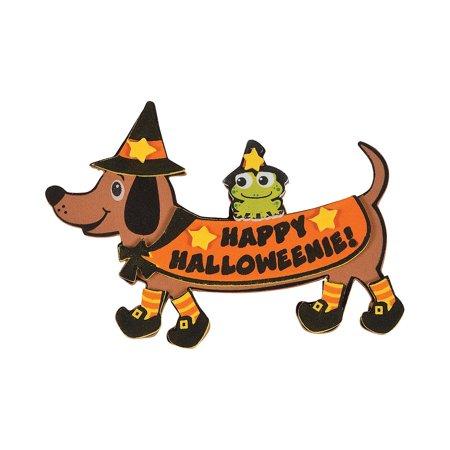 Fun Express - Happy Halloweenie Foam Magnet CK-12 for Halloween - Craft Kits - Stationary Craft Kits - Magnet - Halloween - 12 Pieces (Halloween Magnet Crafts)