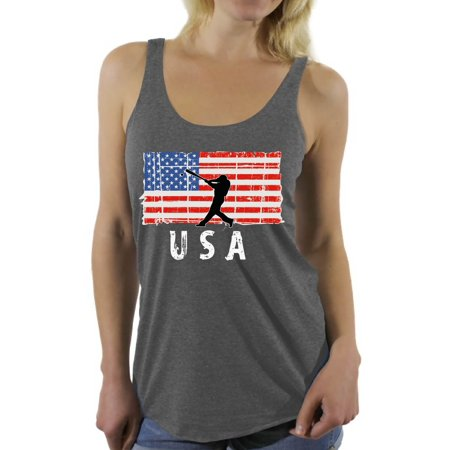 Awkward Styles Baseball USA Women Racerback Tank Top Stripes and Stars Pro America Shirt for Women United States of America Vintage USA Women Tank 51 States American Flag Top for Women