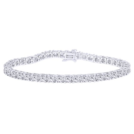 1 CT Round Cut White Natural Diamond Tennis Bracelet In 14k White Gold Over Sterling Silver- 8.5""