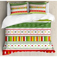 Christmas Queen Size Duvet Cover Set, Set of Traditional Seasonal Borders Stars Bells Trees Stripes Print, Decorative 3 Piece Bedding Set with 2 Pillow Shams, Lime Green Yellow Red, by Ambesonne