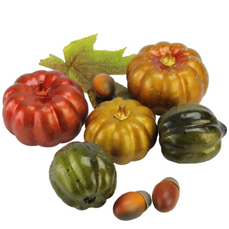 - 10-Piece Autumn Harvest Artificial Pumpkin, Acorn and Leaf Thanksgiving Decoration Set