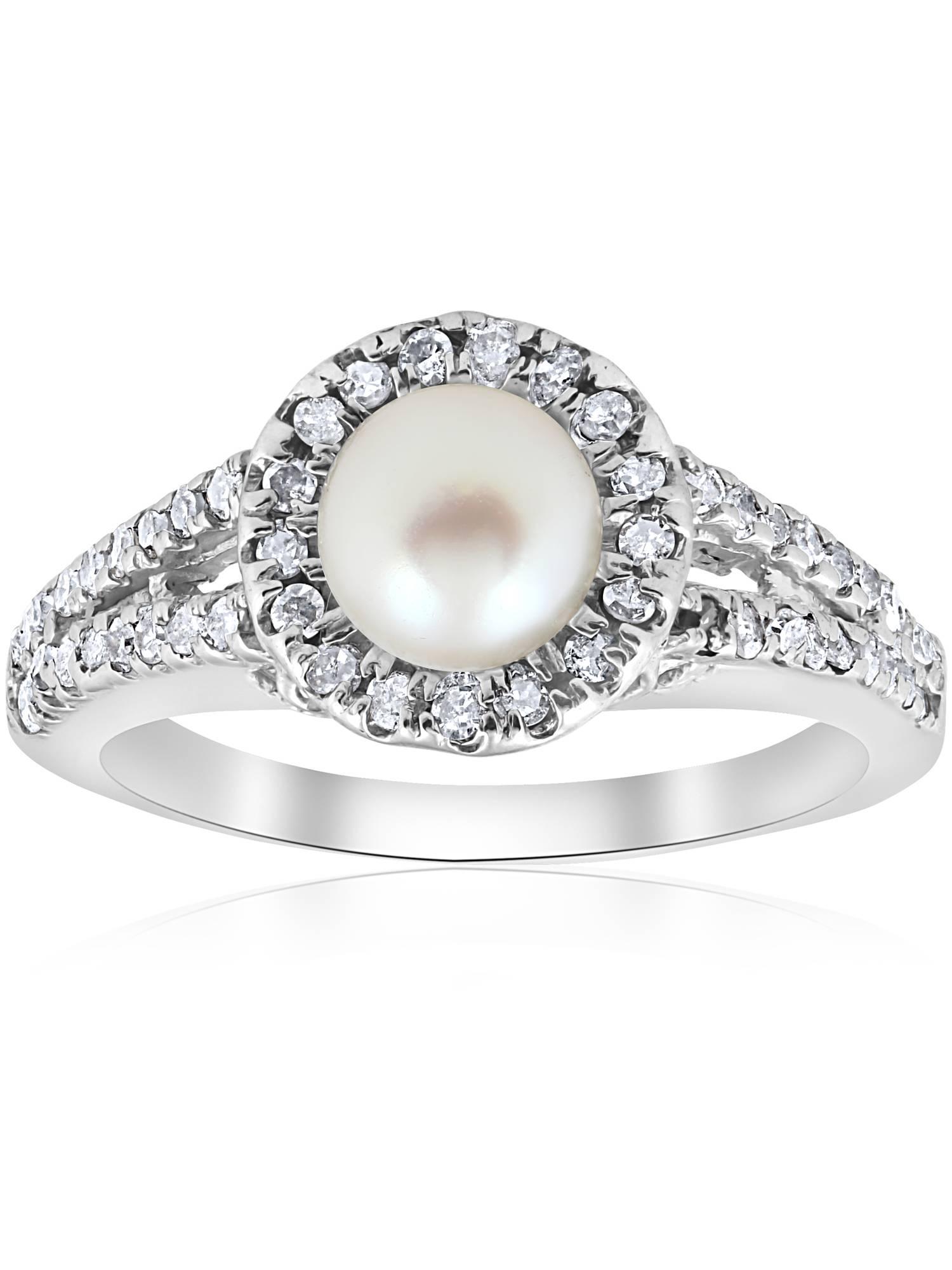 Diamond Pearl Halo Ring 14K White Gold