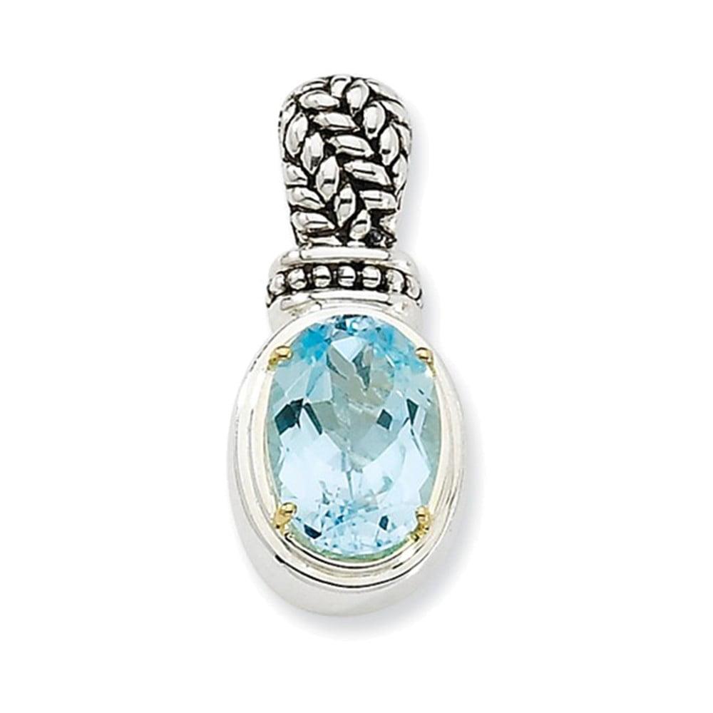 Sterling Silver w 14k Blue Topaz 18in Necklace by