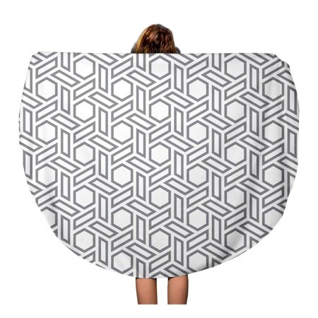 Silver Patterned Round Dial - SIDONKU 60 inch Round Beach Towel Blanket Silver Pattern Hexagons Gray Simple Polygon Black Grid Modern Travel Circle Circular Towels Mat Tapestry Beach Throw