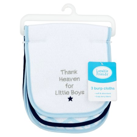 Luvable Friends Baby Boy and Girl Burp Cloths, 3-Pack