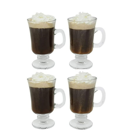 Irish Coffee Glass Coffee Mugs Footed Regal Shape 8 oz. Set of 4 Thick Wall Glass Cappuccinos, Mulled Ciders, Hot Chocolates, Ice cream and