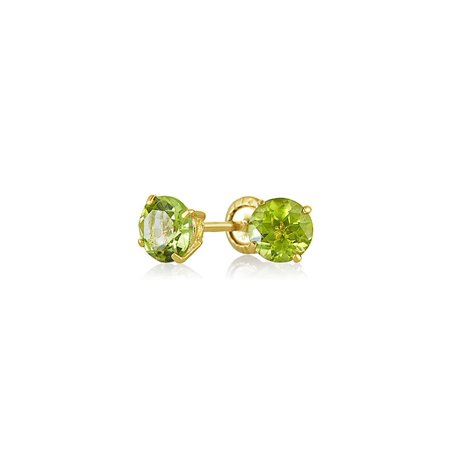 Tiny Cubic Zirconia Green Simulated Peridot CZ Round Solitaire Stud Earrings Real 14K Yellow Gold Screwback