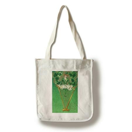 Cotton Womens Bag (Erin Go Bragh Woman on Harp Scene (100% Cotton Tote Bag -)