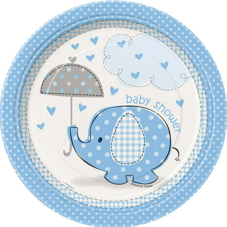 - (3 Pack) Elephant Baby Shower Plates, 7 in, Blue, 8ct