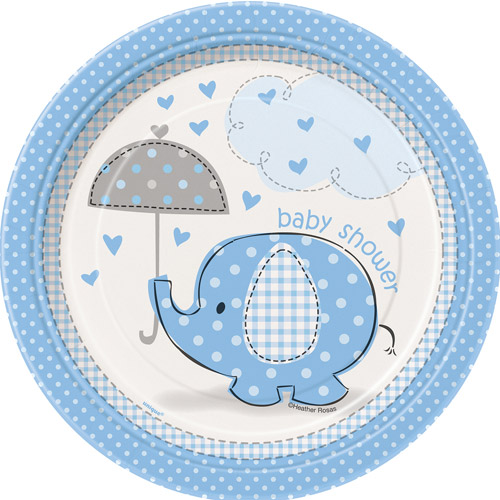 "7"" Blue Elephant Baby Shower Plates, 8ct"