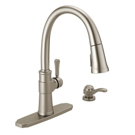 Delta Spargo Single-Handle Pull-Down Sprayer Kitchen Faucet with Soap Dispenser (New Open